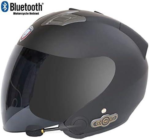 aperta e modulare doppio parasole anti-appannamento del casco Bluetooth Microfono integrato Altoparlante incorporato risposta automatica con FM Casco del motociclo di Bluetooth DOT Certificazione L