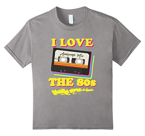Kids Funny 1980s Mix Tape Costume Halloween Party Theme T-shirt 6 Slate (80s Dress Up For Boys)