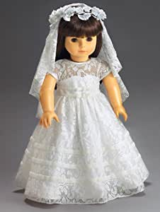 "Wedding or Communion White Lace Dress and Veil for 18"" American Girl Dolls"