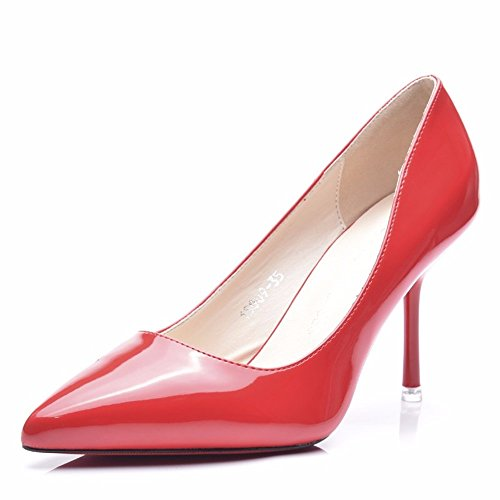 HXVU56546 Sugerencia Mujer Zapatos De Tacón Fino Con La Primavera Y Otoño Newetiquette Pintado Brillante-Solo Zapatos De Cuero The Red