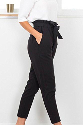 Pantaloni Caviglia Vita Alta Cintura Pantaloni Vepodrau La Con Black In Donne Paperbag qWETnF1A