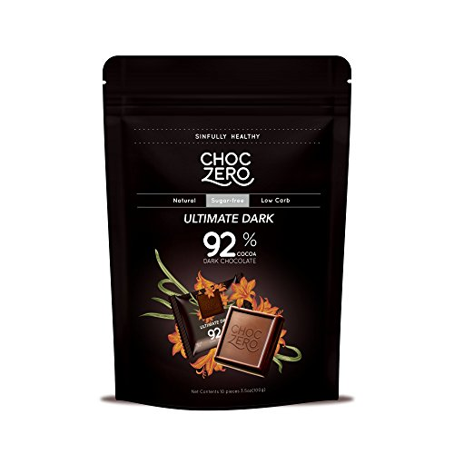 ChocZero 92% Ultimate Dark Chocolate, Sugar Free, Low Carb. No Sugar Alcohols, No Artificial Sweeteners, All Natural, Non-GMO - (3 Bags, 30 Pieces