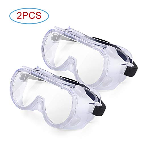 Protective Safety Goggle, Clear Anti Fog Scratch Dust-Proof Resistant Lenses, Wide-Vision Personal Protective Equipment Eye Protection Safety Glasses – 4 Pack