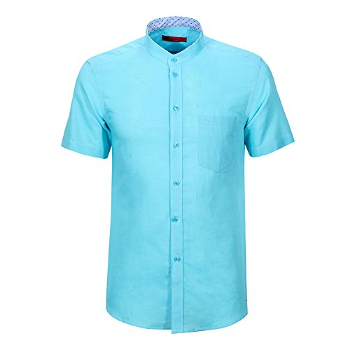 SevenBrand Seven Short Sleeve Shirts For Men White Button Down Slim Fit Linen Summer Casual Formal Dress Shirt Banded Collar With Pocket Plus Size (M,Turquoise)