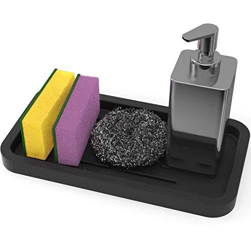 Fun-Ker Kitchen Sink Organizer Sponge Holde rSink Caddy Silicone Sink Tray Soap Holder Sponges Rack (Black)