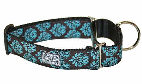 RC Pet Products 1-1/2-Inch All Webbing Martingale Dog Collar, Small, Modern Damask