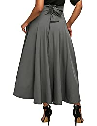 Women's High Waist Pleated A Line Long Skirt Front Slit...