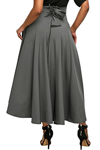 Annflat Women's Plain High Waist Flare Pleated A-Line Cotton Maxi Skirt XX-Large Grey Classic Flare Skirt