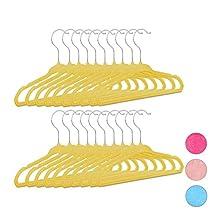 Relaxdays pack de 20 perchas infantiles, Plástico y terciopelo, Antideslizantes, 18 x 28 x 0,5 cm, Amarillo