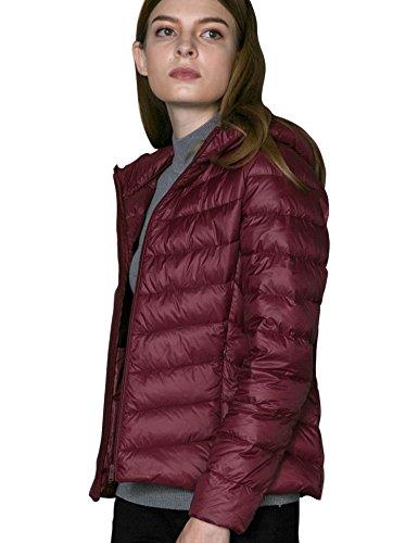 CHICK CHERRY ld Jacket Ultralight Burgundy Puffer Hood Winter Packable Down Women's with xUdxqRwrf