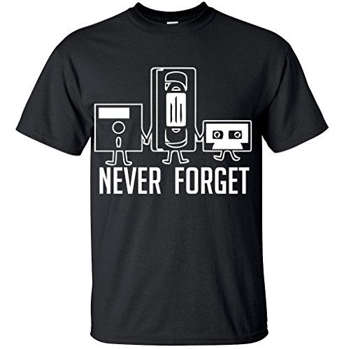 Never Forget Funny Retro Guys Gift Idea Music Mens Novelty Funny T Shirt (Large, Black) -