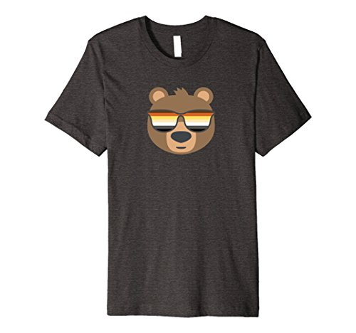 Mens Gay Bear Wearing Bear Pride LGBTQ Flag Sunglasses Premium 2XL Dark - Wearing Sunglasses Bear