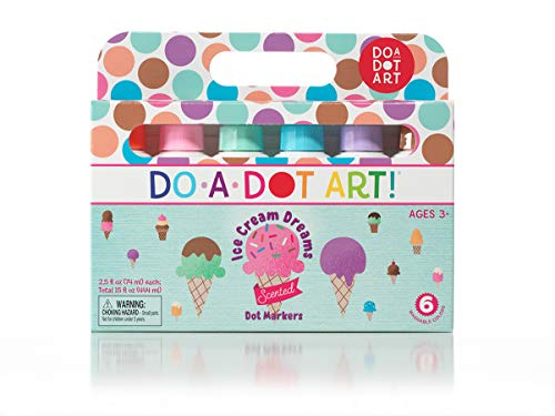 Do A Dot Art Ice Cream Scented Washable Dot Markers for Kids and Toddlers Set of 6 Pack, The Original Dot Marker -