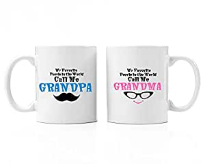 Grandpa & Grandma My Favorites Premium 11oz Coffee Mug Gift | Perfect First Time Grandparents Gifts, Nana and Papa, New Baby Gifts for Grandparents Personalized Unique Grandfather Grandmother Presents