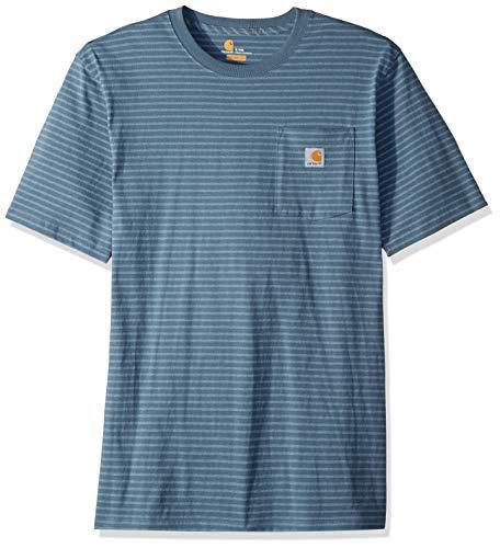 Carhartt Men's Big and Tall K87 Workwear Pocket Short Sleeve T-Shirt (Regular and Big & Tall Sizes), Steel Blue Stripe, 4X-Large