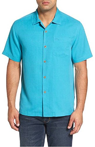 Tommy Bahama Island Zone Royal Bermuda Silk Blend Camp Shirt (Color Clear Ocean, Size XXL)