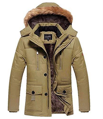 Khaki Warm Zipper Front Coat Long Hooded Apparel with Jacket Sleeve Jacket Coat Pockets Jackets Outerwear Men's Lapel UHqwaSU