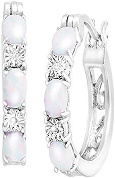 1 ct Created Opal Hoop Earrings with Diamonds