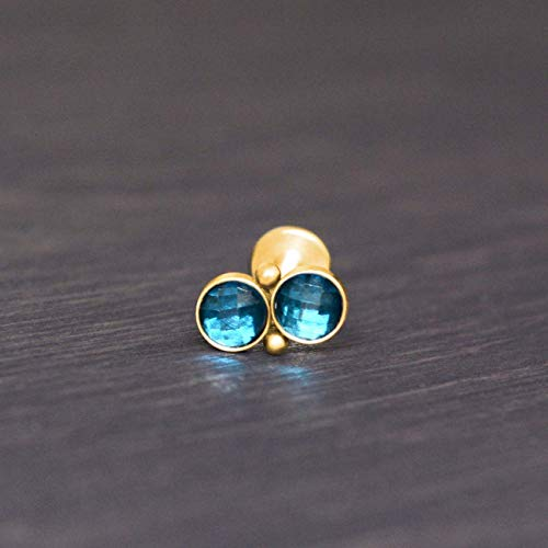 (CZ Surgical Steel Internally Threaded Labret - Lip piercing, monroe flat back stud earring, medusa stud)
