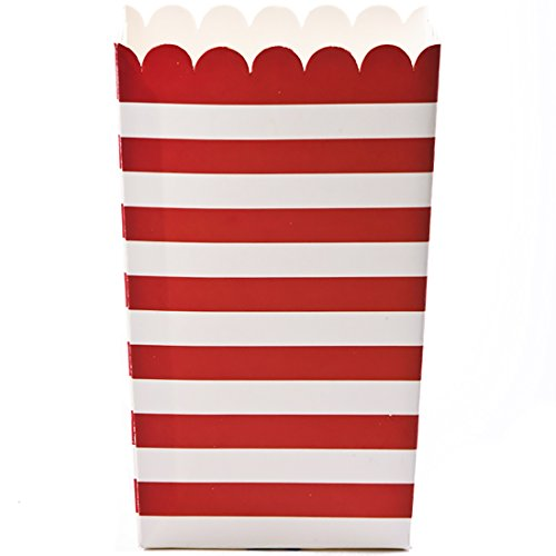 Simply Baked Small Paper Popcorn Box, Scarlet & White Stripe, Disposable and Sturdy, 6-Pack