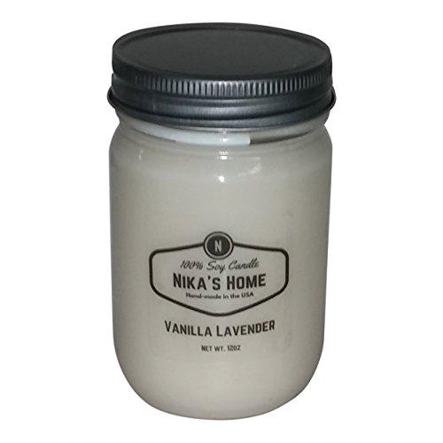 Nika's Home Vanilla Lavender 12oz Mason Soy Candle by Nika's Home