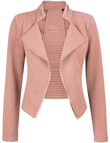 Michel Womens Casual Zip Up Blazer Slim Fit Crop Jacket Small