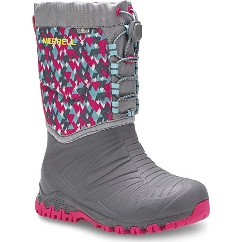 (Merrell Snow Quest Lite Waterproof Boot Big Kid 1 Grey/Print)