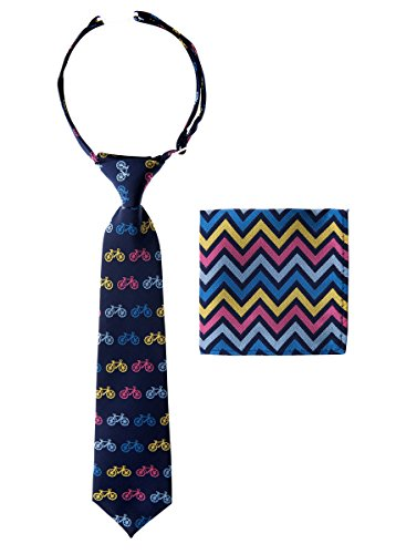 - Canacana Classic Bicycle Woven Microfiber Pre-tied Boy's Tie with Wavy Stripes Pocket Square Gift Box Set - Navy Blue - 8 - 10 years, Christmas gift