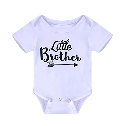 WINZIK Newborn Infant Baby Boys Girls Outfits Little Brother Letters Print Romper Jumpsuit Clothes T-Shirt