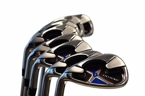 Left Handed Extreme X2 Iron Set +2 inch over XL Big & Tall Men's Complete 8-Piece Iron Set (4-SW) Regular Flex ''R'' Flex Club (Tall 6'3''+ / +2''Over) with Jumbo Black Pro Velvet Grip by Extreme X2