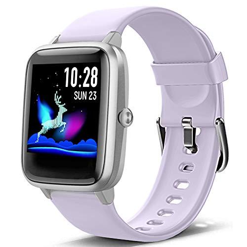 Lintelek Smart Watch, Full Touch Screen Smartwatch, 1.3 Inch Fitness Tracker with HR Monitor, Sleep Tracker, Stopwatch…