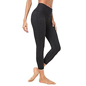 "Queenie Ke Women 22"" Yoga Capris Power Flex height Waist Running Pants Workout Tights Legging Size S Color Dark Charcoal"
