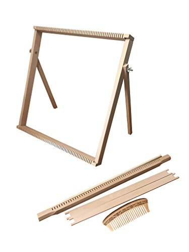 Weaving Loom Kit Large (50 cm x 50 cm) with Stand, Wooden Looming Set, Frame Loom with Heddle Bar | Weaving Loom for Beginners by Craft Boutique (Image #1)