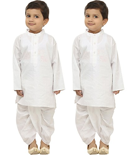 Focil Diwali Special Combo of White Solid Dhoti Kurta set for Kids (Pack of 2) by FOCIL