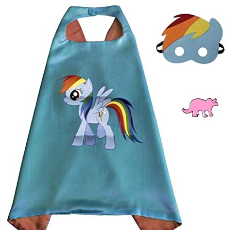 Superhero Cape and Mask Costume for Kids with Pin (Rainbow Dash)