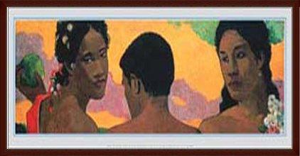 ポスター ポール ゴーギャン 3人のタヒチ人 額装品 ウッドベーシックフレーム(ブラウン) B0031O7X1Gブラウン