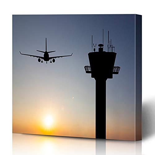 Ahawoso Canvas Prints Wall Art 12x12 Inches Amsterdam Orange Traffic Control Tower Red Landing Air Airport Plane Aviation Flight Departure Decor for Living Room Office -