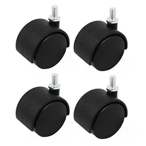 eDealMax filetes M8 Tige 2 pouces Dia Double Roue pivotante Roulettes Noir 4pcs Chaise de Bureau Pour