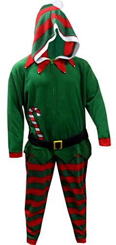 MJC Men's Jingle Bells Christmas Elf Hooded Onesie Pajama (Medium) Green ()