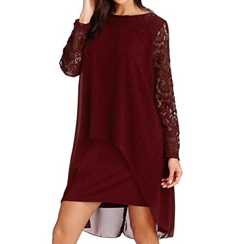 Londony✚‿✚ Women's Casual Long Sleeve Pockets Loose Pleated Lace High Low Swing Dress Red