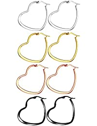40mm 50mm 60mm Stainless Steel Flat Large Heart Hoop Earrings For Women Girls 4 Pairs