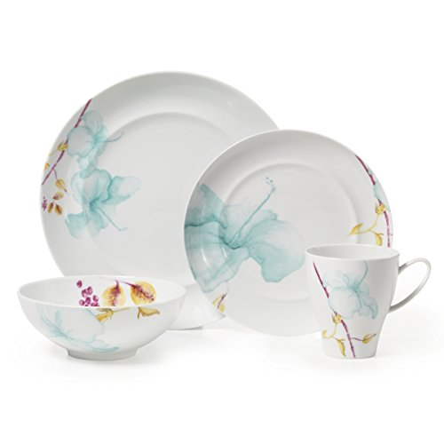 Porcelain Place Setting - Mikasa Aliza Teal 4-Piece Place Setting Dinnerware Set