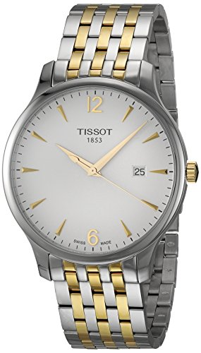 Tissot mens Tradition Stainless Steel Dress Watch Grey & Yellow Gold T0636102203700
