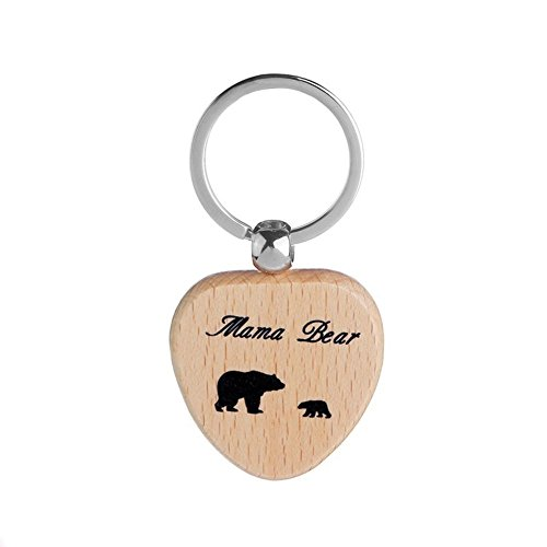 Mama Pendant 1 (ink2055 Keychain Pendant with Mama Bear and Cubs Wooden Heart Shape Key Ring Gift for Mom - HQ001-1)