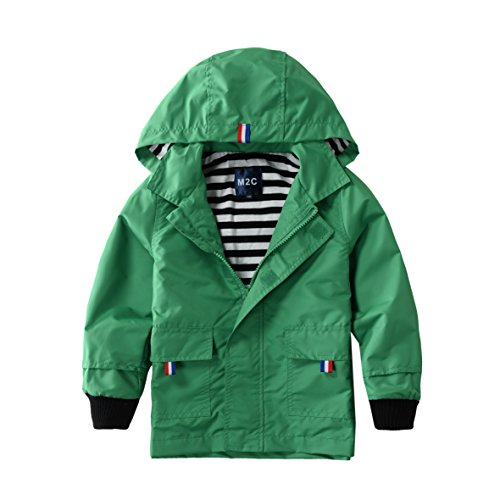 Hiheart Boys Waterproof Hooded Jackets Cotton Lined Rain Jackets Green 7T