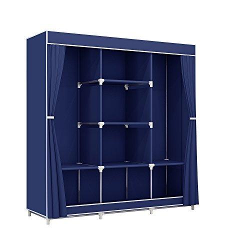 Greenbelt Portable Clothes Closet Non-Woven Fabric Wardrobe Double Rod Storage Organizer Blue 45.5 x 17 x 65 inches