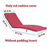 Do4U Adjustable Patio Outdoor Furniture Rattan Wicker Chaise Lounge Chair Sofa Couch Bed with Cushion (1 Pcs Red Cushion Cover) Review