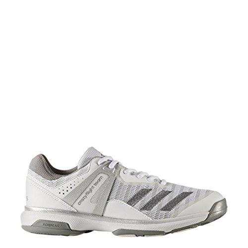 adidas Women's Shoes | Crazyflight Team Volleyball, White/Metallic Silver/Grey Three, (8 M US)