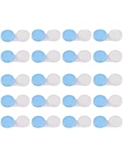 sharprepublic 20 Unids Portátil Caja Almacenaje para Lentillas Estuche para Gafas Rosa Transparente - Azul