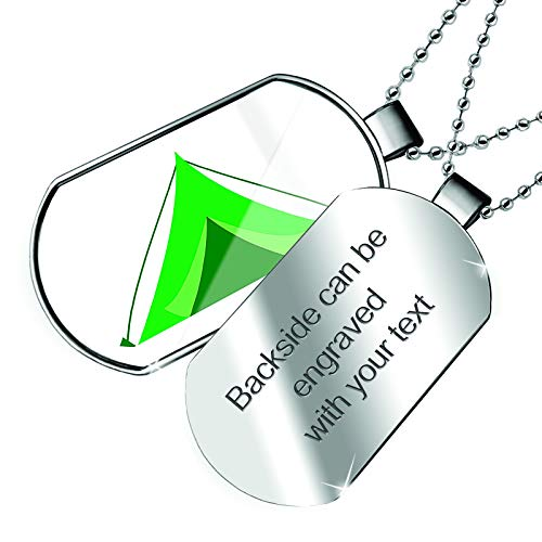 NEONBLOND Personalized Name Engraved Kids Design Green Camping Tent Dogtag - Tent Green Engraved